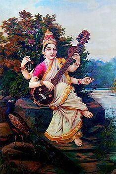 Saraswati by Raja Ravi Varma Saraswati Mata, Saraswati Goddess, Durga, Paintings Famous, Beautiful Paintings, Mark Rothko Paintings, Raja Ravi Varma, Indian Goddess, Academic Art