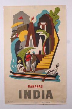 "VINTAGE ORIGINAL 1957 BANARAS INDIA 25"" X 40"" ADVERTISING TRAVEL POSTER in Art, Posters | eBay"