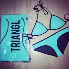 Light and dark blue triangle bikini