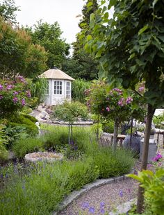 Gravel path contained between rock pavers Shed Landscaping, Gravel Path, Pathways, Garden Paths, Gazebo, Garden Design, Outdoor Structures, Landscape, Kitchen Extensions