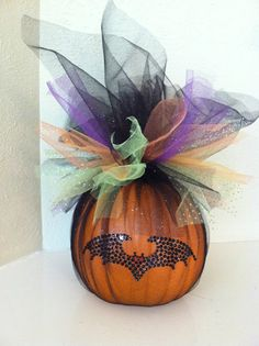 Halloween Pumpkin Decoration - Halloween Centerpiece - Halloween Front Door Decor - Tulle Wrapped Pumpkin on Etsy, $32.00