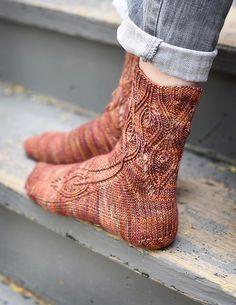 Ravelry: Sybaritic sock pattern by Hunter Hammersen çorap Crochet Socks, Knitting Socks, Loom Knitting, Hand Knitting, Knitting Patterns, Knit Crochet, Knit Socks, Knitted Slippers, Knitting Machine