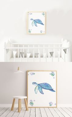 One image of a sea turtle with seashells. Boho Nursery, Nursery Wall Decor, Room Decor, Seashells, Turtle, Printables, Lettering, Baby, Kids