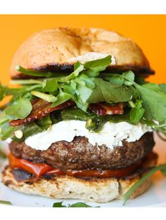 Green-Chile Bacon Burger with Goat Cheese