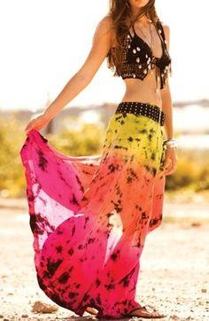 neon maxi skirt