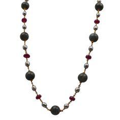 Χρυσό Κολιέ Κ18. Μαργαριτάρια, Ρουμπίνια & Λαμπραντορίτης Beaded Necklace, Gold Necklace, Mother Pearl, Labradorite, Pearls, Jewelry, Beaded Collar, Gold Pendant Necklace, Jewlery