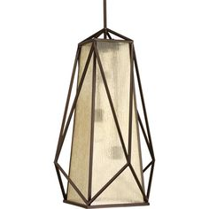 Marque: vintage three-light foyer pendant with antique textured glass in a stylish bronze frame