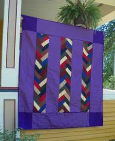 """Amish Braid quilt, w tutorial. Not crazy about these colors, but this would make a great """"man"""" quilt"""
