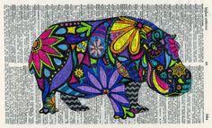Hippo Art Print  Nursery Art  Whimsical by GeorgiePearlDesigns