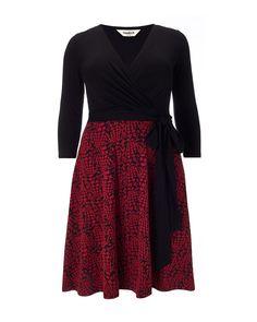 Buy Studio 8 Katy Wrap Top Dress, Black/Red, 20 from our Women's Dresses range at John Lewis & Partners. Plus Size Mini Dresses, Maxi Wrap Dress, Maxi Dresses, Long Sleeve Mini Dress, Flare Skirt, Pattern Fashion, High Waisted Skirt, Dress Black, Dress Red