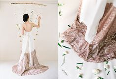 Truvelle Wedding Dresses from their 2015 Bridal Collection. Wedding Attire, Wedding Gowns, Sequin Wedding, Bridal Dresses, Bridesmaid Dresses, Bohemian Beach Wedding, Gold Wedding Invitations, Bridal Lace, Event Styling