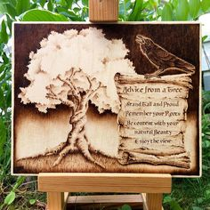Advice from a Tree / Raven wood-burned painting wooden