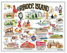 """""""Icons of Rhode Island Past and Present"""" including IGGY'S world famous doughboys! Designed by local artist Frank Gallasso. Lithograph is 22 inch x 28 inch. Rhode Island History, Newport Rhode Island, Going On A Trip, Famous Places, Rhodes, Back In The Day, That Way, New England, Childhood"""