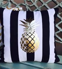 Black canopy stripes with a gold foil pineapple. This is a perfect pillow to toss in with your pillows at home to give it a little refresh or serve as a fun statement. Living Room Pillows, Pillow Room, My New Room, My Room, Cute Pillows, Throw Pillows, Cute Pineapple, Pineapple Ideas, Pineapple Gifts