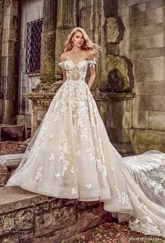 amalia carrara spring 2018 bridal off the shoulder sweetheart neckline heavily embellished bodice romantic princess a line wedding dress open back royal train (1) mv -- Amalia Carrara Spring 2018 Wedding Dresses
