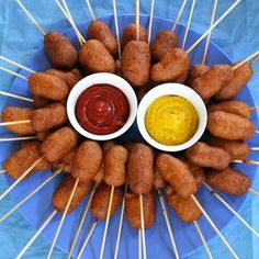 """Corn Dogs Mini Corn Dogs--For the """"Mini Thanks to You!"""" luncheon for the staffMini Corn Dogs--For the """"Mini Thanks to You!"""" luncheon for the staff Circus Party Foods, Mini Party Foods, Bbq Party, Party Drinks, Party Snacks, Appetizers For Party, Teen Party Foods, Slumber Party Foods, Circus Food"""