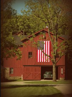 Old barn, old truck, and the American Flag. Perfect!!