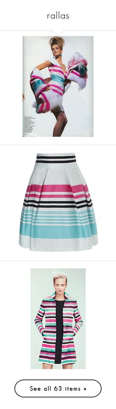 """""""rallas"""" by anabellaaaa ❤ liked on Polyvore featuring skirts, saia, bottoms, dresses, jupes, striped full skirt, full skirt, retro skirts, jane norman and stripe skirt"""