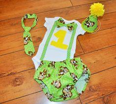 Baby Boy/Toddler Cake smash outfit, Boy Birthday Outfit monkeys, monkey birthday, Green monkey cake smash 1st 2nd 3rd  birthday, Monkey tie