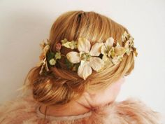 flower crown, birds and fresia sand delphinium crown