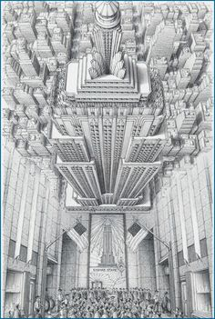 Stephen Biesty - Illustrator - Inside-out Views_Empire State BuildingYou can find Empire state and more on our website.Stephen Biesty - Illustrator - Inside-out Vi. Building Drawing, Building Sketch, Building Art, Building Painting, Empire State Building, Art And Illustration, Building Illustration, Art Sketches, Art Drawings
