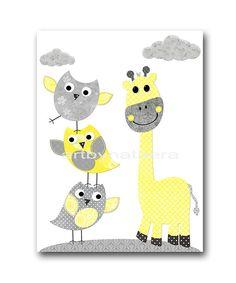 Giraffe Nursery Digital Art Printable Print by nataeradownload