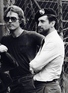 Christopher Walken and Robert De Niro on the set of 'The Deer Hunter', 1978.