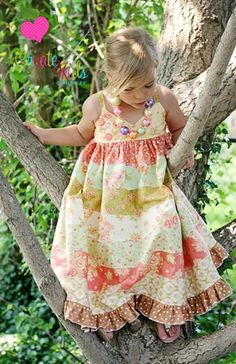 Piper's Stripwork Maxi Dress pdf sewing pattern for girls from Create Kids Couture