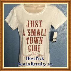 "Host Pick: ""Just A Small Town Girl"" by Saltlake. Cute white SS tee for any ""Small Town Girl"" to wear proudly!! The lettering is dark brown ( like pic #4). 60%cotton/40%poly. See pics for sizing. Salt Lake Clothing Co. Tops Tees - Short Sleeve"