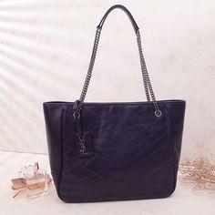 Saint Laurent Large Niki Shopping Bag in Vintage Leather 504867 Blue 2018 ] : Real Bag Sale Saint Laurent Tote, Ysl Bag, Bags 2018, Designer Purses, Bag Sale, Vintage Leather, Grosgrain, Shopping Bag, Wallets