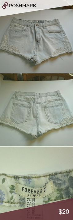 High-waisted distressed shorts Forever 21 light blue, high-waist jean shorts. Has distressed edges and a lace embroidery EUC, flawless  Pet and smoke free home  A74 Forever 21 Shorts