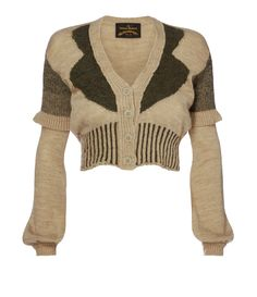 REA CARDIGAN by Vivienne Westwood | Playing with textures and neutral colours, the Rea Cardigan features a cropped design with peasant sleeves and V-neckline. Crafted with different yarns, this charming intarsia knit cardigan is detailed with the signature Westwood irregular look due to the particular threads used, which react differently when treated. | Composition:  60% Acrylic 40% Wool Details:  V-neckline Peasant sleeves Front button fastening Ribbed cuffs and hemline