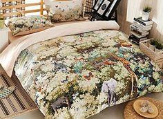 Charming #Jungle Print 4-Piece Cotton Duvet Cover Sets #3d #bedding