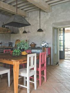 Rustic Italian kitchen- love the subtle color pops going on here!