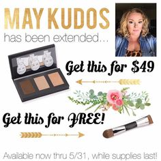 May Kudos is a MUST have! The Sculpting Trio with a FREE contouring brush! Comes in light medium or dark.