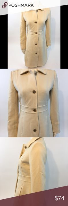 """J Crew wool coat size 2 cream peacoat below Knee • J Crew Women's Coat XS-2 per J Crew size chart • Falls below the knee • Gently used  • No holes or tears • Constructed nicely • All buttons intact • Fully lined • While buttoned across armpit to armpit 18"""" • Length front top shoulder to bottom hem 35"""" • NOTE: color may vary due to camera flash, lighting and monitor screen J Crew Jackets & Coats Pea Coats"""