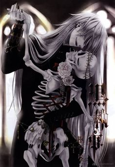"""Undertaker: A ex grim reaper, who  owns a funeral parlor in London.  He is famous for collecting the soul of Marie-Antoinette, and other famous people of pre, and amid the Victorian era. His death scythe is a scythe. He is creepy, and will start giggling at any given time. He will not accept the """"queens money"""" and will make you pay him by makeing him laugh. He is my favorite character in Black Butler. Gotta love him!"""