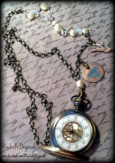 Fully Functional Pocket-Watch Necklace  Hand Altered/Painted & Distressed  Design & Handcrafted by Rachel's Originals: Jewelry So Adorable It's ADORNable  TO ORDER: Please visit my FB and/or Esty pages at the following links!  www.facebook.com/RachelsOriginals  www.rachelsoriginalgifts.etsy.com