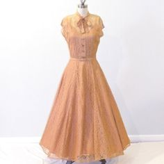 Vintage 40s Dress, Pale Copper Floral Lace 1940s Dress, Belt & Slip Dress by daisyandstella, $325.00  https://www.etsy.com/listing/156557611/vintage-40s-dress-pale-copper-floral