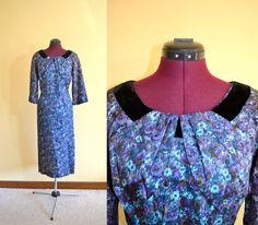 1950s Vintage Plus Size Velvet Floral by TabbysVintageShop on Etsy