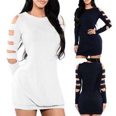 Women Stylish Cut Out Sleeve Sweater Dress