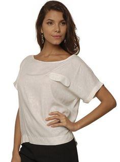 Blusa Feminina Larga em Viscose Branco Barred's 01080040 | Sofisticata Loja Online