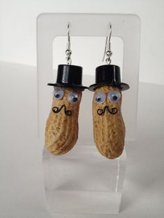 Peanut Earrings with Moustache and Top Hat googly by FancyFlairLtd, $9.50