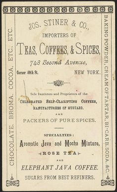 Jos. Stiner & Co. tea importers, New York [back] by Boston Public Library, via Flickr