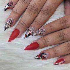 Red Camo @lumiinous.lovee #rednails #sculptednails #stilettonails #lexdonails #malishka702_nails #lexi #nailsoftheday #nailart #camo #mattenails @naillabousa Presto 80 and Presto Matte top used, @kingofnail Black painting gel, and @oceannailsupply Swarovski crystals ❤️