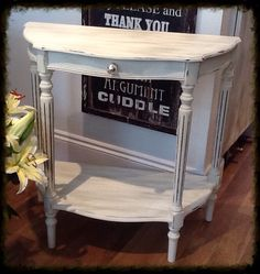 Cute side table painted in Everlong Double Cream and Vintage