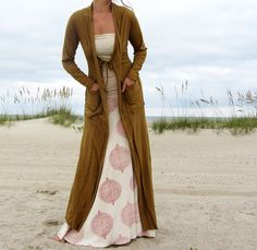 Tie Front Long Jacket with Pockets ( Local Organic Cotton).
