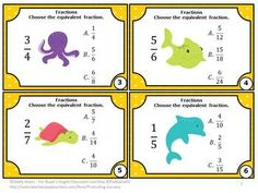 Fractions FREE Task Cards - You will receive 6 printable task cards focusing on the Common Core 4th grade skill of equivalent fractions. Students are given a fraction and must choose the equivalent fraction among three choices. You will also receive a fractions student response form and fractions answer key.