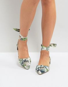 20c6738ff18 Shop New Look Palm Print Lace Up Pointed Flat Shoes at ASOS.