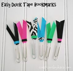 Creations by Kara: Duck Tape Crafts– Back to School Accessories Duct Tape Projects, Washi Tape Crafts, Duck Tape Crafts, Diy Crafts, Teen Crafts, Creative Crafts, Tape Art, Duct Tape Bookmarks, Diy Bookmarks